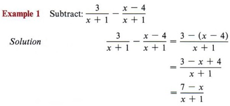 Subtracting Fractions Examples