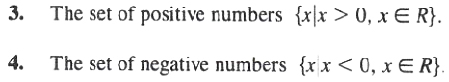 Set of Positive and negative numbers