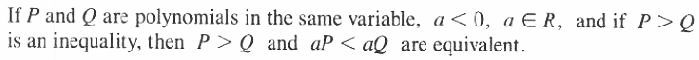 Theorem 3 equivalent inequalities with order relation reverse